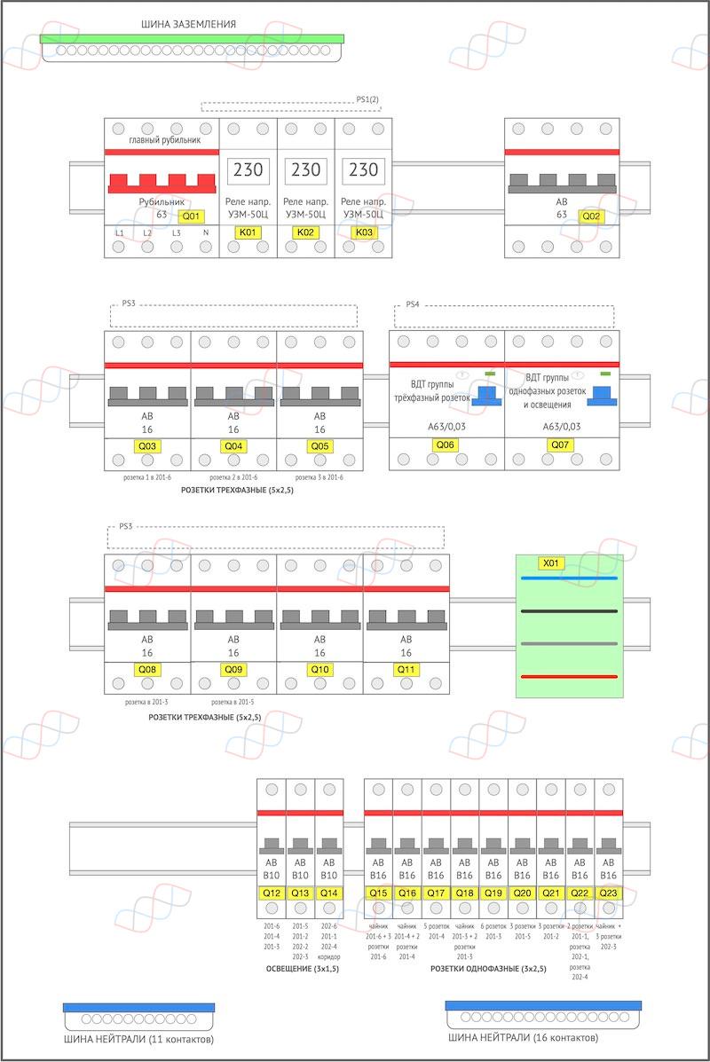 Проект 3-фазного электрощита на 19 линий для квартиры