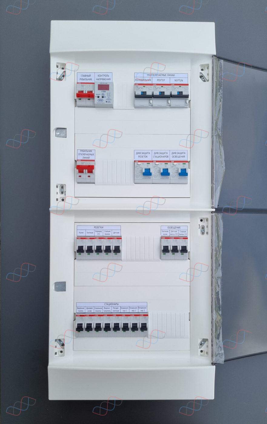 Электрощит на 19 линий нагрузки для трехкомнатной квартиры